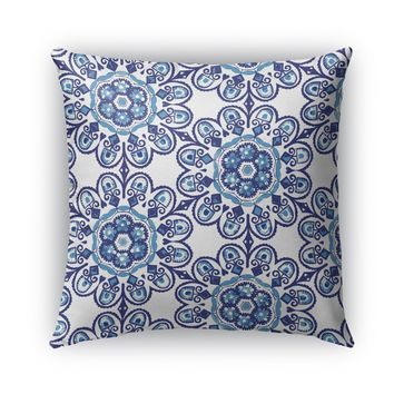 MEXICAN FLOWERS BLUE Indoor|Outdoor Pillow By Catia Keck