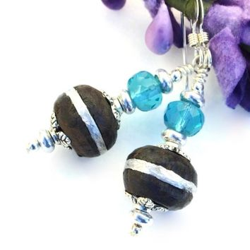 Mali Ebony Wood and Silver Earrings, Handmade Aqua Glass Tribal Beaded Dangle Jewelry