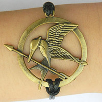 Fashion simple Adjustable Bracelet Hunger Games Mockingjay pin Bronzer Hunger Games Mocking Bird Charm Bracelet