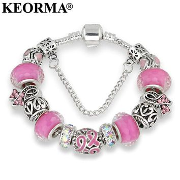 Breast Cancer Awareness Charms Bracelet