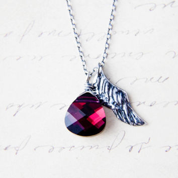 Shattered Necklace Angel Wing Charm Sterling Silver Ruby Swarovski Crystal Black Feather