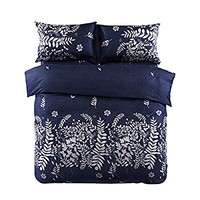 3 Piece Duvet Cover and Pillow Shams Bedding Set, Soft Microfiber Printed Design (Queen Size, Navy)