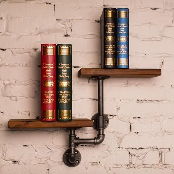 Rustic Wood and Iron Double Wall Shelves