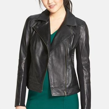 Women's Halogen Smocked Leather Jacket,