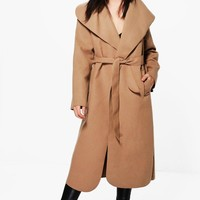 Maria Oversized Shawl Collar Coat | Boohoo
