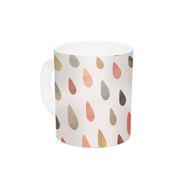 "Daisy Beatrice ""Opal Drops - Dusk"" Peach White Ceramic Coffee Mug"
