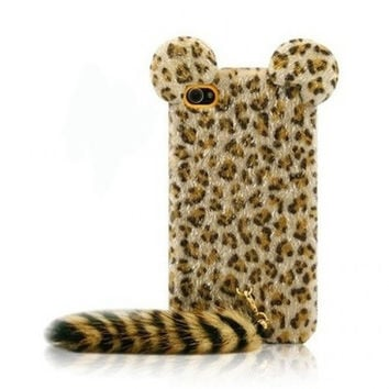 3D Tiger Leopard with Soft Feather Tail Case