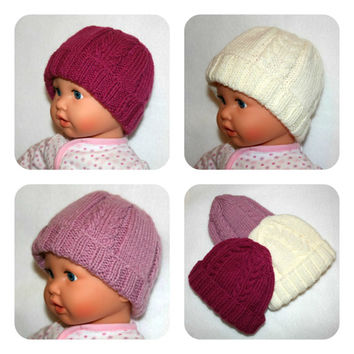 Set of Three Hand Knit Baby Girl Hats, Cable Knit Beanie, Pink Baby Girl Hats 0 - 3 months, Triplet Hats, Pink Girl Beanie
