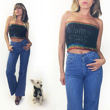 Vintage 1970's Rainbow Disco Glam Sequined Crop Tube Top || Disco Sequin Pride Top || Size Small Medium Large