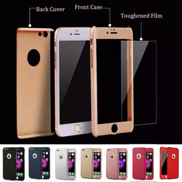 7 Plus 360 Case Full Body Protection Phone Cases For iPhone 7 7 Plus Armor 3 in 1 Hard Back Cover Funda Free Glass Screen Film