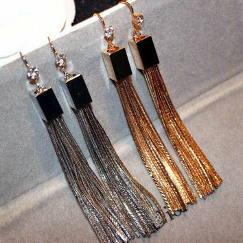 Gold Plated Statement Tassel Earrings in Gold or Silver
