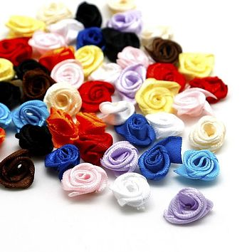 Hot 50PCS 1.5cm Handmade Satin Ribbon Rose Flower Sewing Crafts For Wedding Decoration DIY Home Party Crafts Accessory