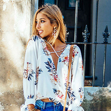 New Boho Women clothes pullover Summer Floral print Deep V-neck Shirts Loose Casual Sexy Loose Chiffon Blouses one pieces