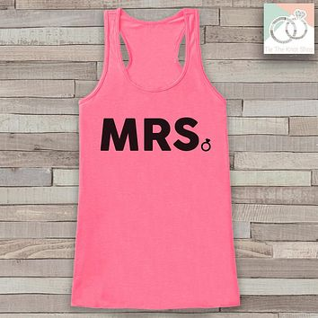 Bride Tank - Mrs. Tank - Bride To Be Tank Top - Wedding Shirt - Simple Top - Pink Tank Top - Bachelorette Party - Bridal Party Outfit