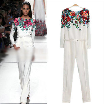 White Floral Print Long-Sleeve Jumpsuit With Belt