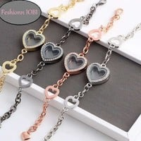 ON SALE - Story of My Life Heart Shaped Charm Locket Bracelet - Four Colors to Choose!