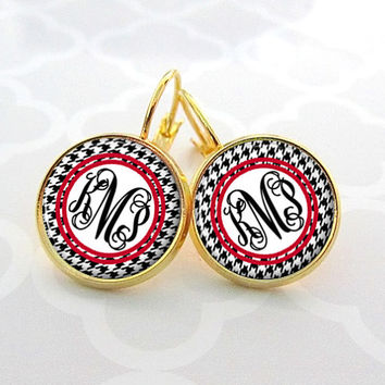 Houndstooth Monogram Earrings, Bridesmaid Gift, Monogram Jewelry Personalized Earrings (530)