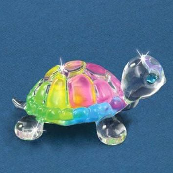 Small Rainbow Snow Cone Turtle Glass and Figurine w/ Swarovski Elements
