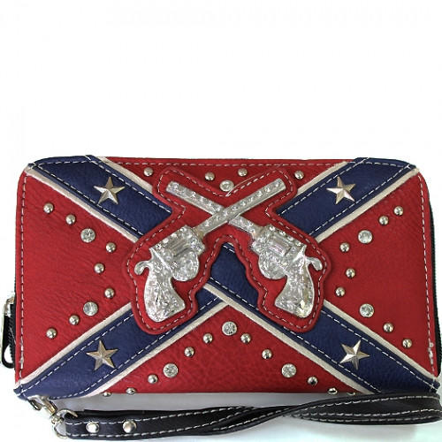 Six Shooter Rebel Flag Wallet From All Things Country Western