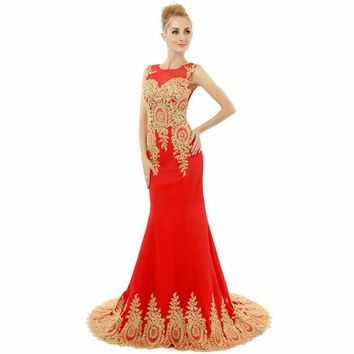 Mermaid Red Chiffon Golden Appliques Sheer Back Prom Dresses