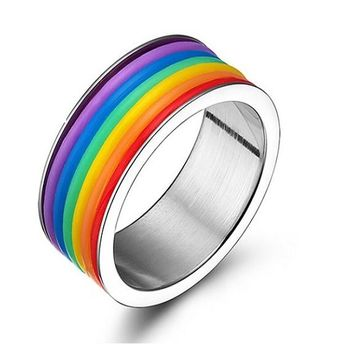 Rainbow Titanium Steel Band Ring