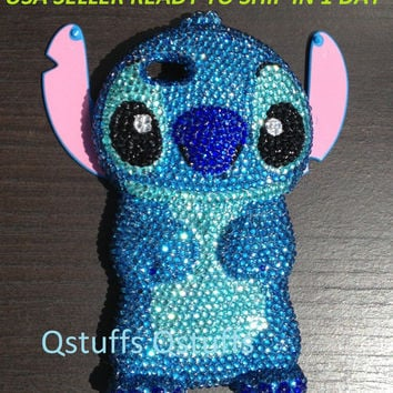 Handmade 3D DISNEY stitch LILO iPhone 5 5S case High Quality Crystals Bling diamond cover in USA