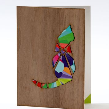 Wood Greeting card - Cat, Walnut wood veneer