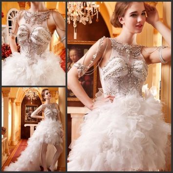 Luxury High Low Wedding Dresses Short Front Long Back With Crystals