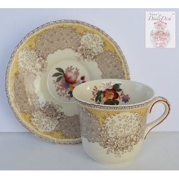 Vintage English Polychrome Taupe Brown and Butter Yellow Two Color Transferware Demitasse Cup & Saucer Royal Doulton Tulips Roses Flowers