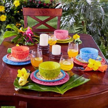 Dinnerware Tropical Colorful Floral Hibiscus Fruit Earthenware 12 Pc Set NEW
