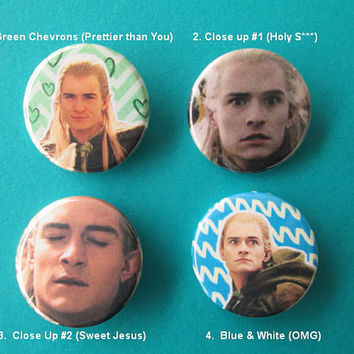 Lord of the Rings Legolas Pinback Buttons - the Derp Editions