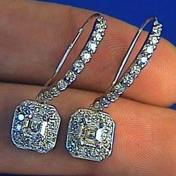 2.20ct Emerald Cut Diamond Earrings 18kt white gold JEWELFORME BLUE