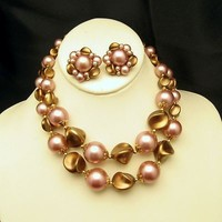 HONG KONG Chunky Beads Necklace Earrings Set Vintage 2 Strand Pink Mauve Pretty