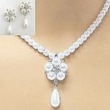 Elegant Single Strand White Pearl Drop Bridal Necklace and Earring Set