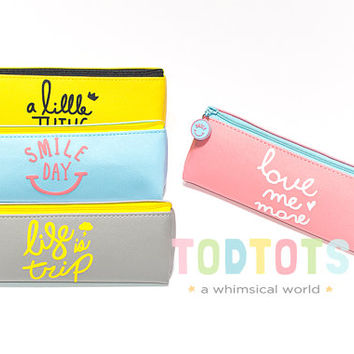 Smiley Colorful Pencil Case | Zip Pencil Case |