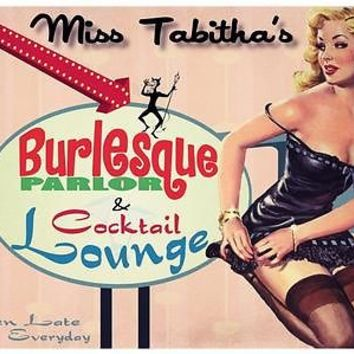 Miss Tabithas Burlesque and Cocktail Lounge Metal Sign, Retro Glamour Pinup Girl