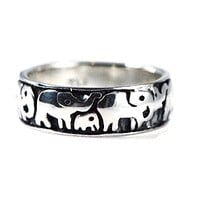 Sterling Silver Polished And Antiqued Elephant Family Parade Ring