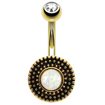 BodyJ4You Belly Button Ring Round Vintage Victorian White Opal Goldtone Steel 14G Body Piercing Jewelry