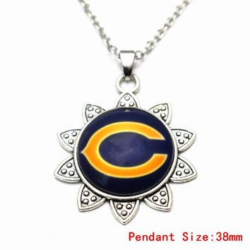 Silver Sunflower Pendant Necklace Football Chicago Bears Vintage With 50cm Chains Necklace For Women Long Necklace DIY Jewelry