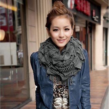 DCCKJG2 Fashion Women Ladies Knitted Crochet Snood Scarf Shawl Cowl Neck Warmer Circle Tube