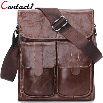 CONTACT'S genuine leather men messenger bags large capacity briefcases shoulder crossbody bag famous brands business designer