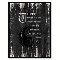 Three things that can not be hidden the sun the moon & the truth Motivational Quote Saying Canvas Print with Picture Frame Home Decor Wall Art