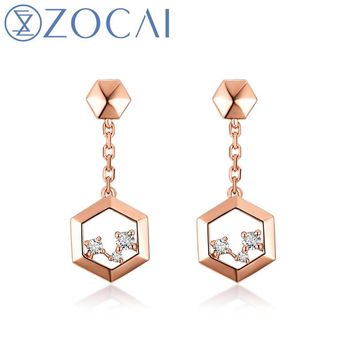 18KT Rose Gold The Honeycomb Series Real 0.06 CT Diamond Earrings