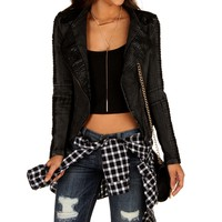 Black Animal Skin Denim Jacket