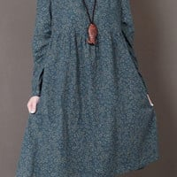 Blackish Green Floral Print Long Sleeve Dress