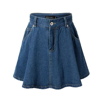 Stylish Strong Character Design Summer Women's Fashion High Rise With Pocket Denim Skirt Dress Umbrella [4920639108]