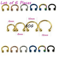 ac DCCKO2Q 6 Pieces Anodized Circular Barbell Horseshoe Piercing CBB Septum Lip Labret  Eyebrow Nose Ring Piercing Body Jewelry 16g