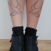 Bird Tattoo Tights Rockabilly swallows