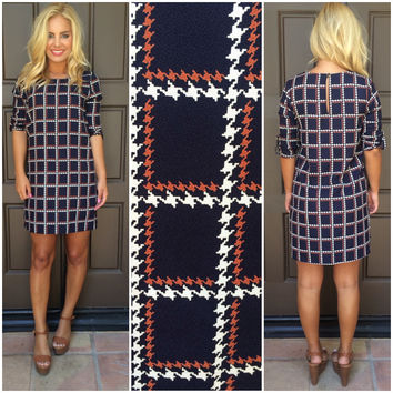 Miranda Checkered Shift Dress - NAVY