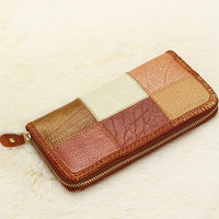 2015 New Retro leather stitching women wallet purse handmade ethnic style wallets hot coin pocket card holder (Color: Multicolor)